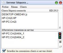 mode client serveur du pointage des heures Séquora pour Mac OS X et PC Windows